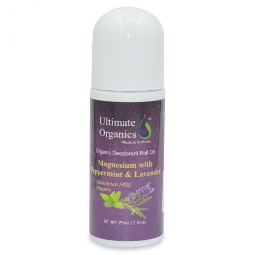 Organic Deodorant Roll On 75ml-Peppermint & Lavender