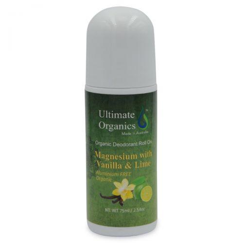 Organic Deodorant Roll On 75ml - Vanilla & Lime